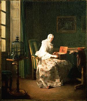Lady with her serinette, Jean-Baptiste Simeon Chardin