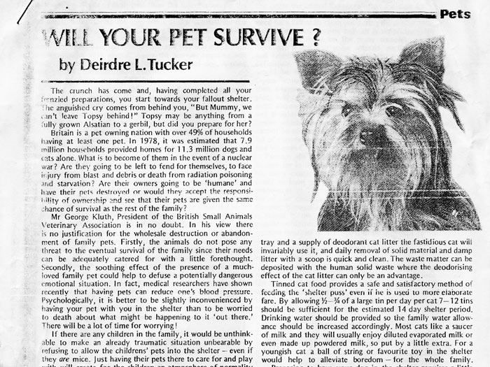Article from UK 1980s survivalists' magazine 'Protect & Survive Monthly'