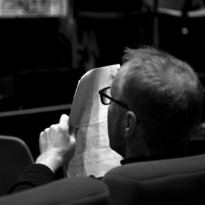 Stephen Hiscock checking his performance notes, BFI Vault (photo Gaynor Perry)