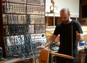David plays my theremin as a CV controller for his modular synth (photo Roo Reynolds)