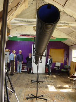 The infrasonic pipe in Tim Hunkin's shed