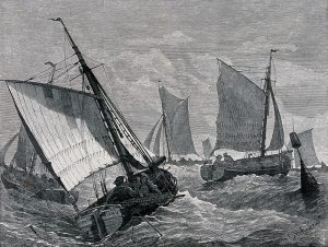 Wood engraving by GH Andrews - sailing ships on a rough sea